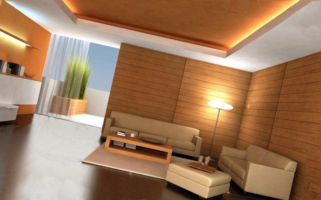 гостиная с натяжным потолком