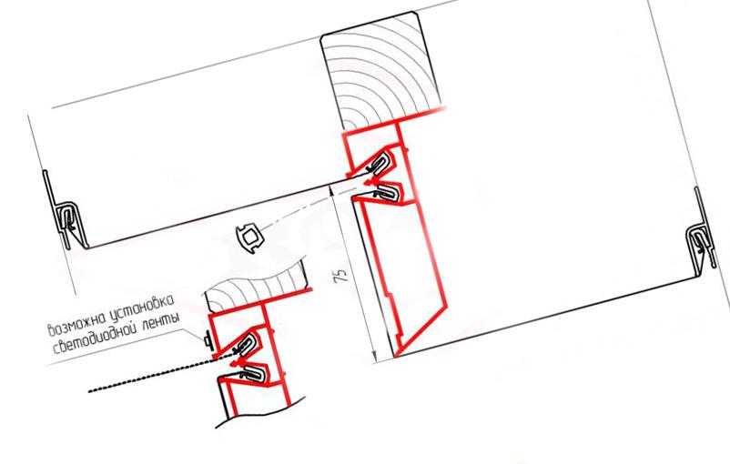 Конструкция с использованием профиля ПП 75