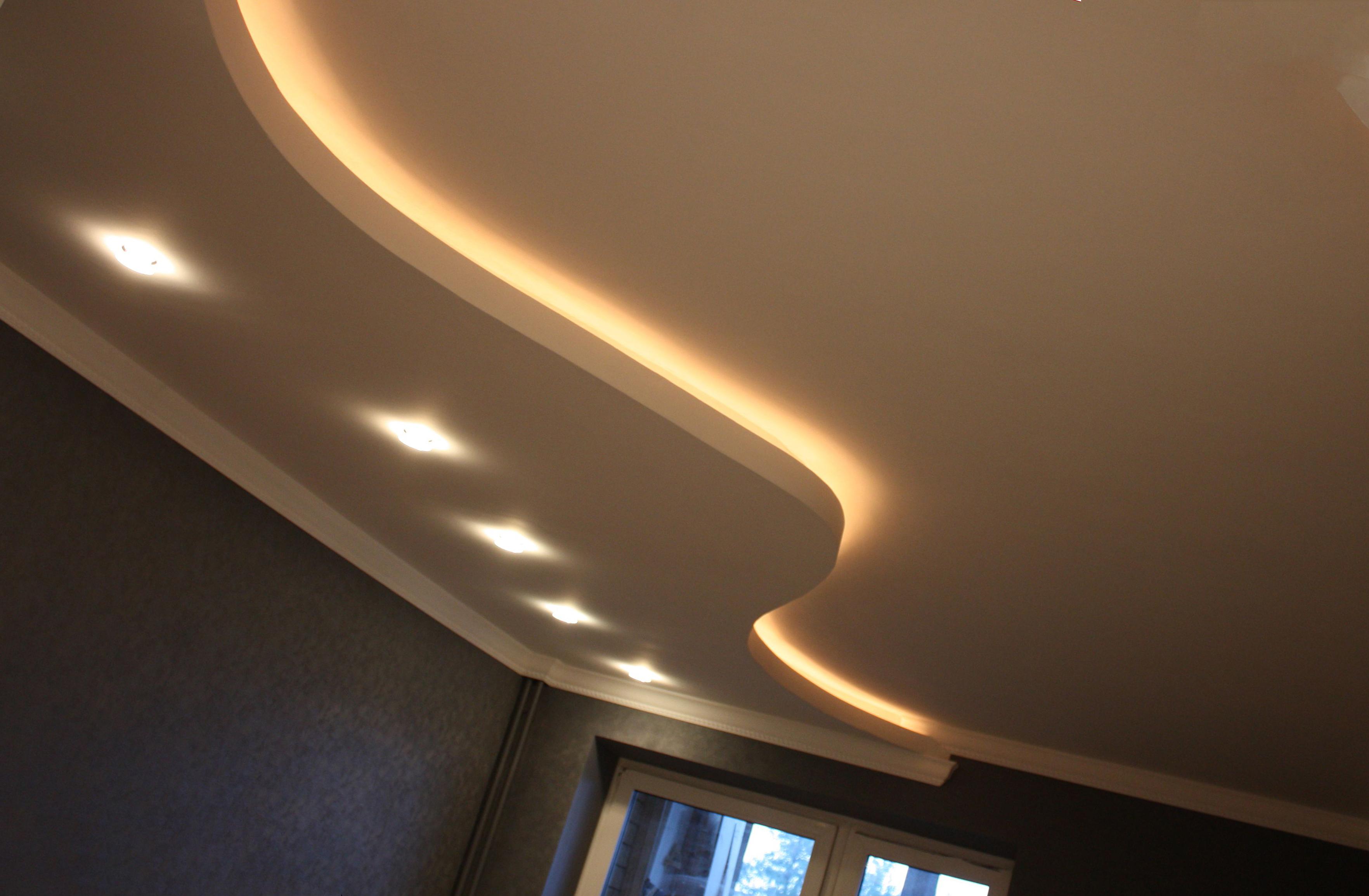 разрез потолка с подсветкой