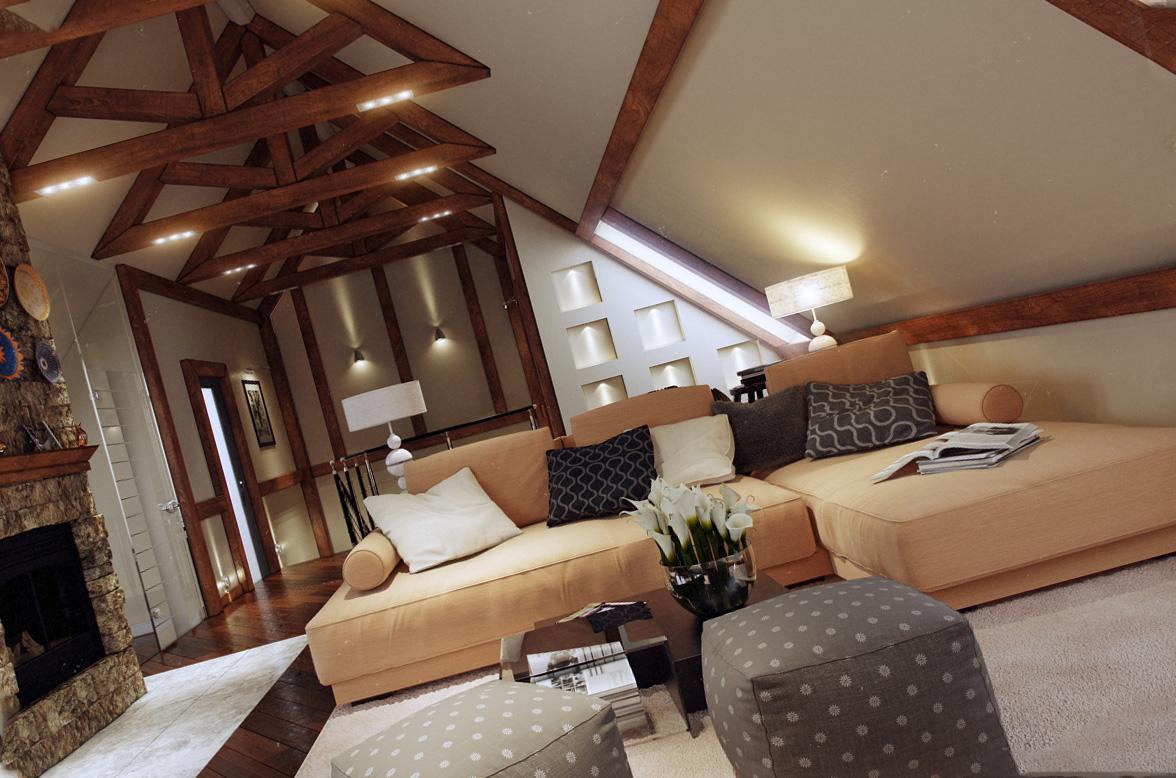 Дизайн скошенного потолка
