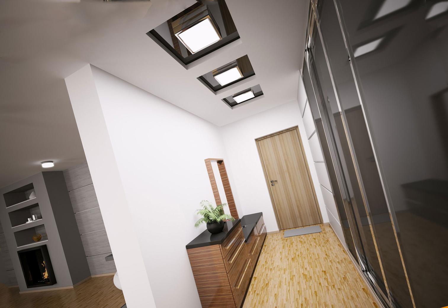 Дизайн узких потолков в коридоре