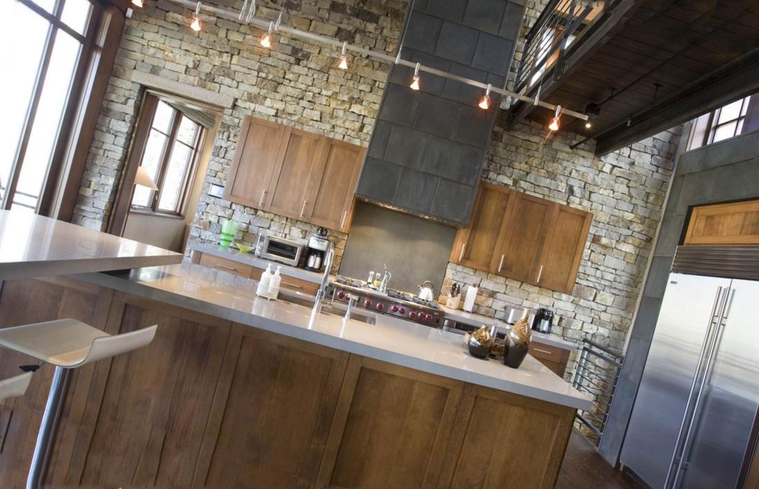 Потолочные споты в в интерьере кухни