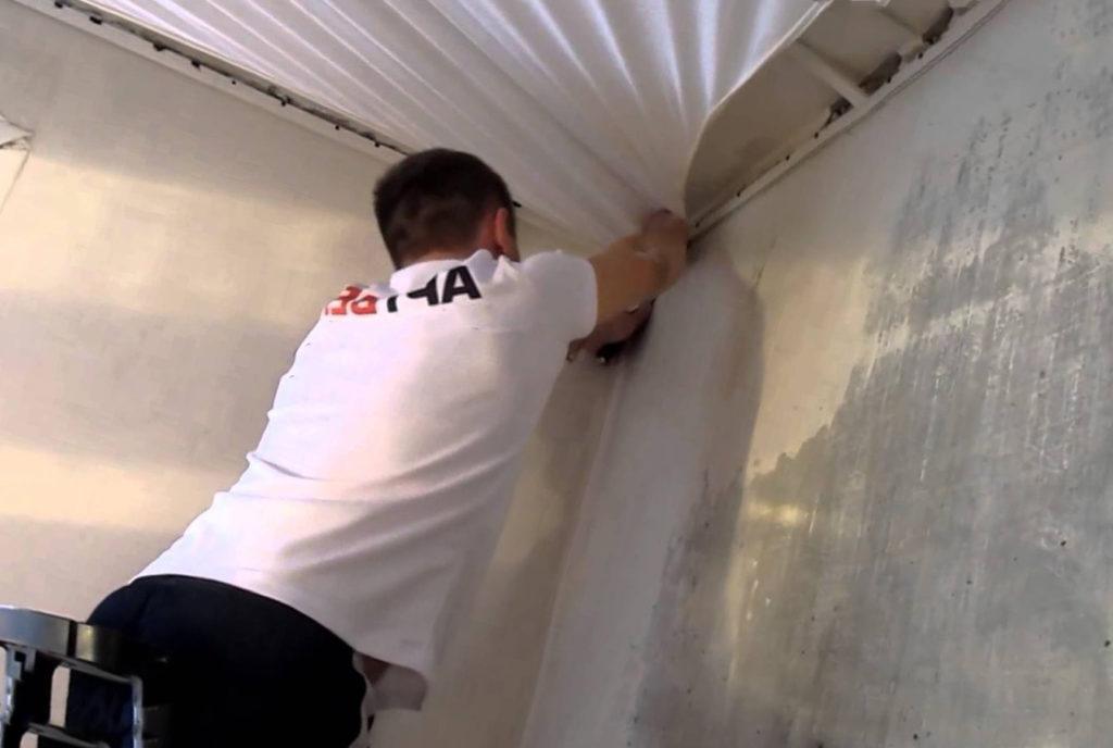 Замена натяжного потолка на новый с частичным демонтажом