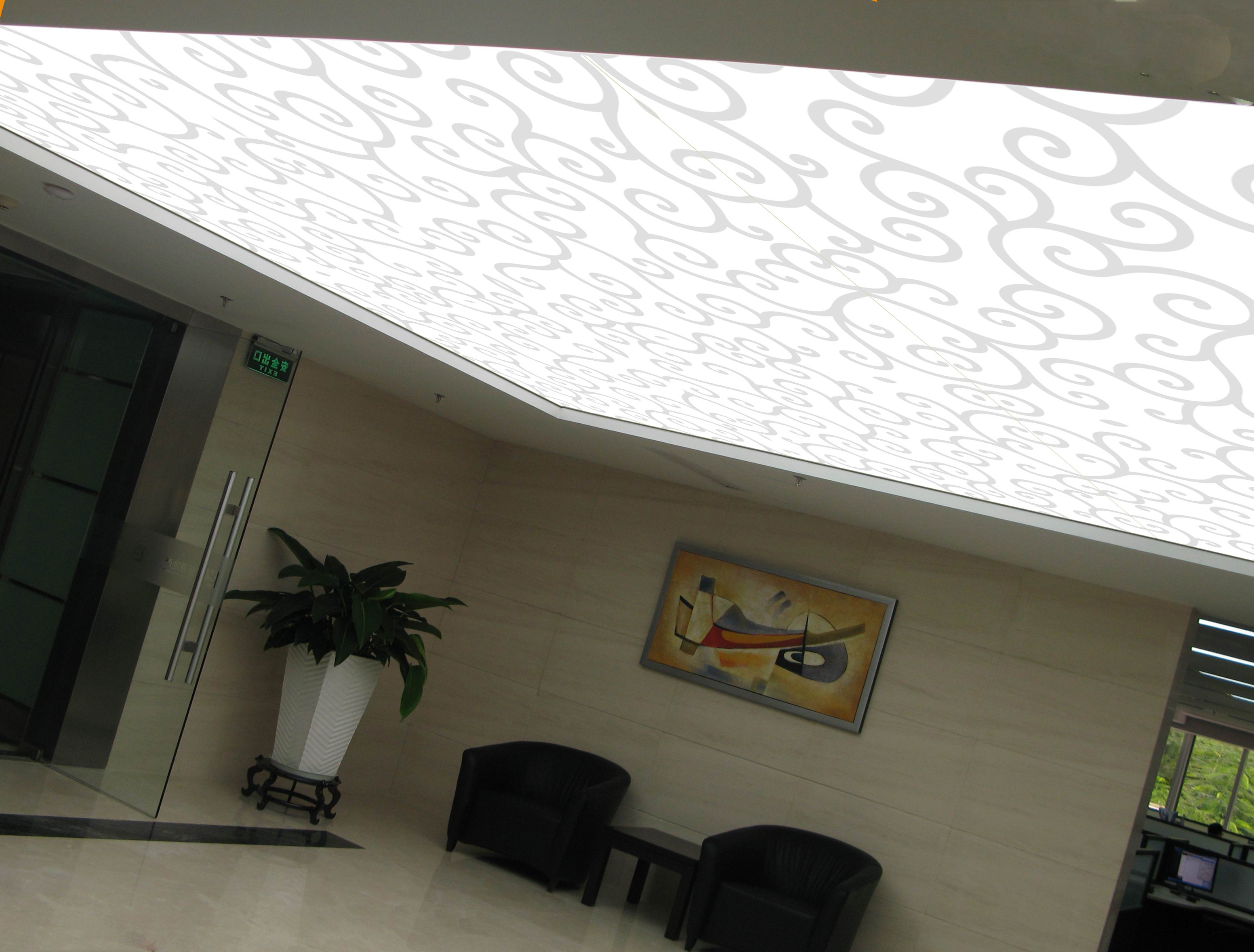 полупрозрачный потолок с фотопечатью