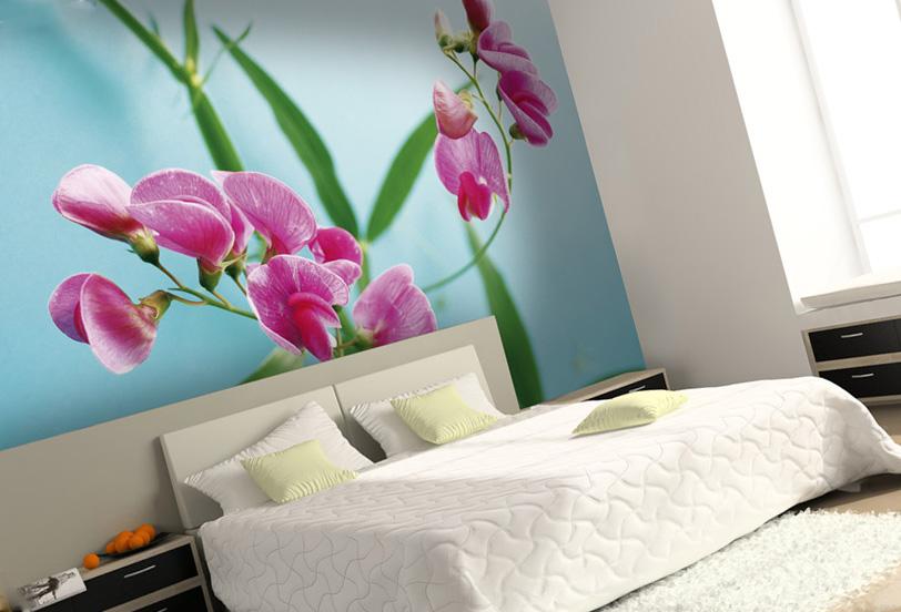 натяжная стена с цветами