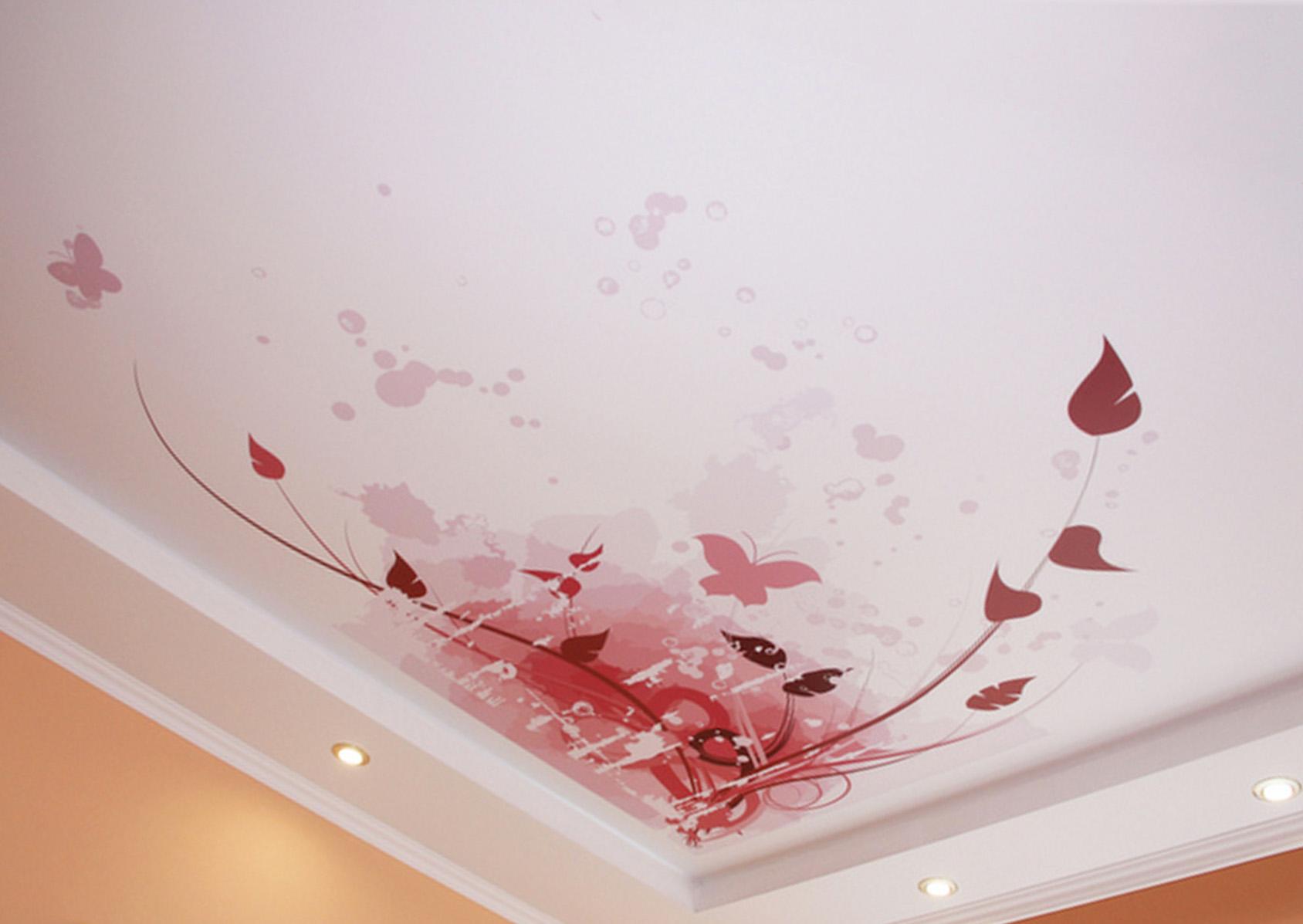 Фотопечать бабочки на натяжном потолке