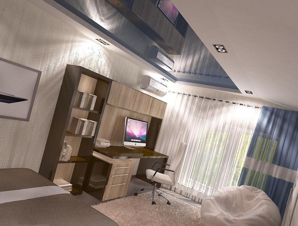 оформить натяжной потолок в комнате подростка
