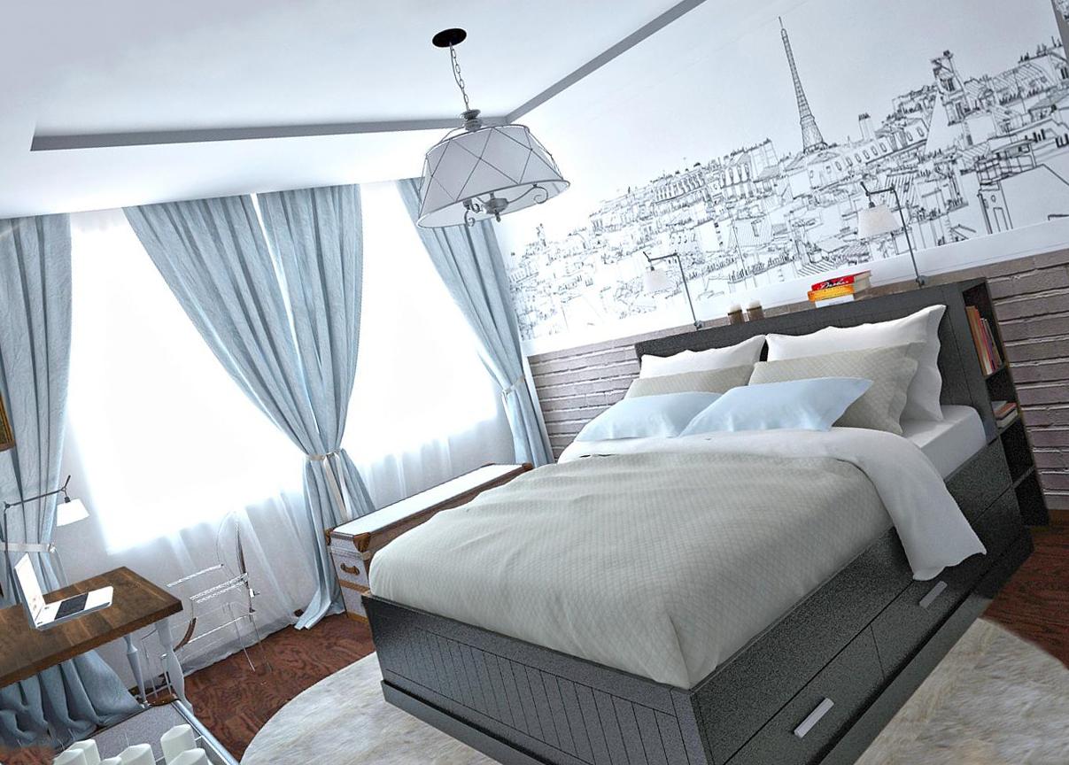 Стиль интерьера спальни и натяжной потолок