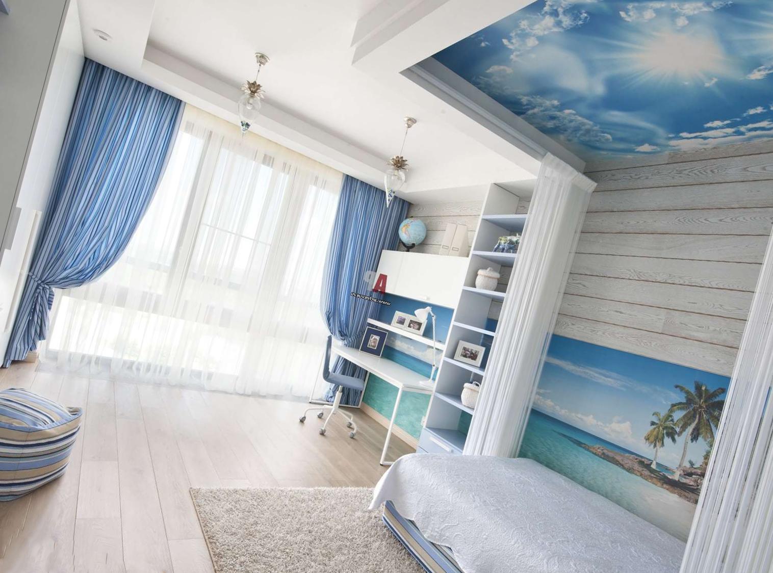 комната голубого цвета
