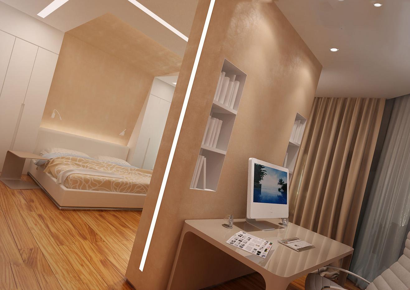 Зонирование жилого пространства, или как сделать перегородку, если есть натяжной потолок?
