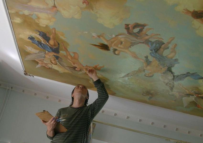 Тканевые натяжные потолки красить можно
