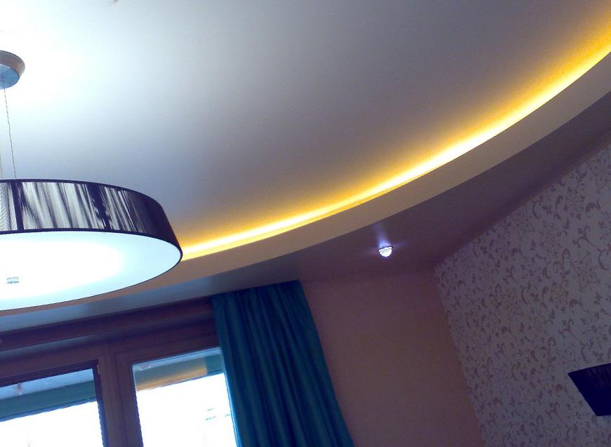 Натяжные потолки и осветительные приборы