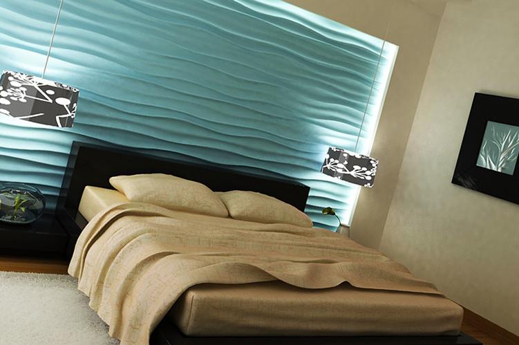 Рельефный декор в интерьере спальни