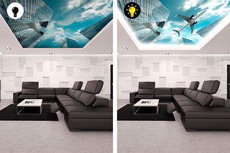 Светящиеся натяжные потолки в интерьере – как их применить в дизайне