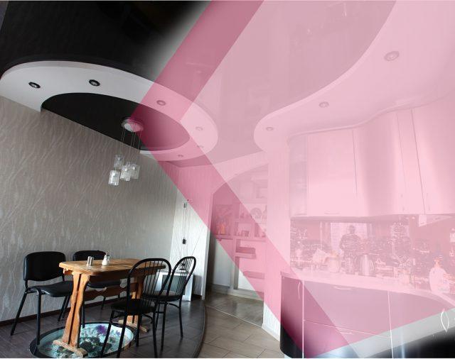 Натяжной потолок на кухне с колонкой